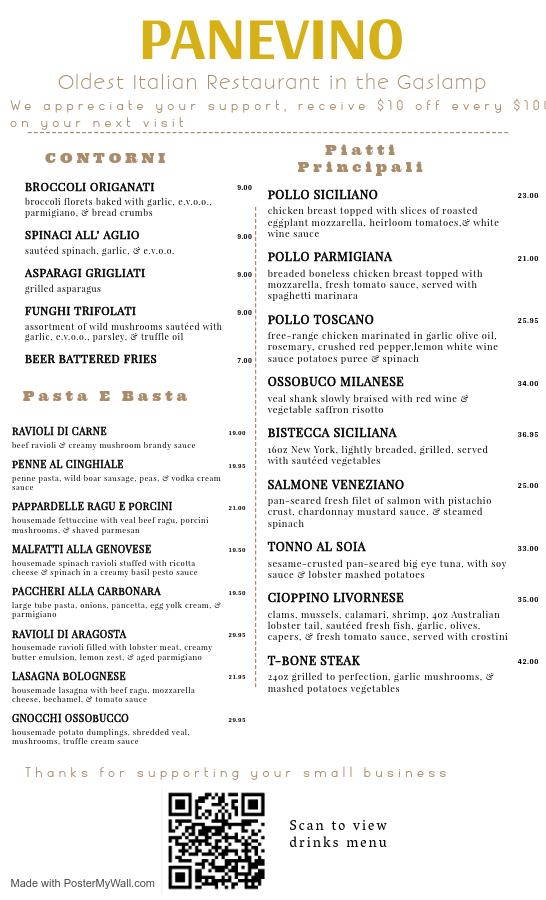 Best Italian in San Diego to-go menu